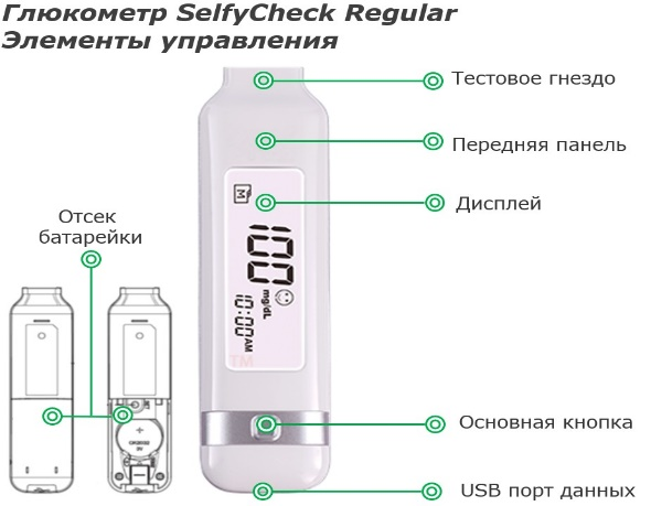 Глюкометр Selfy Check Regular элементы управления
