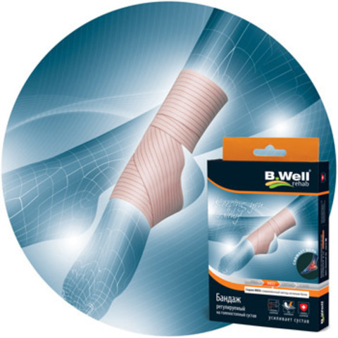 Бандаж на голеностопный сустав, регулируемый, эластичный.