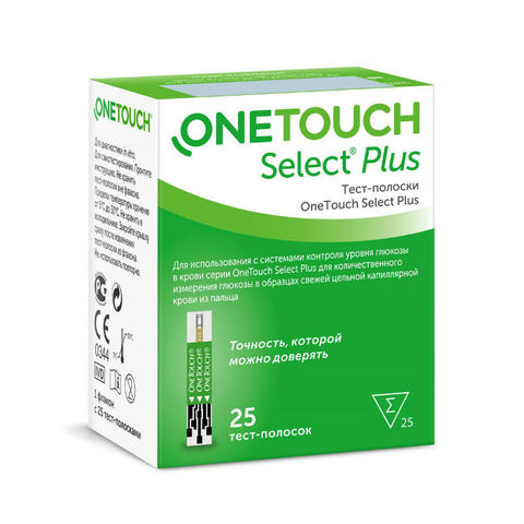 Тест-полоски One Touch Select PLUS (Уан Тач Селект Плюс) 25 шт